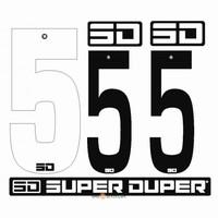BMX Nummers SD Voor Front en Side Nummer Bord Wit 5